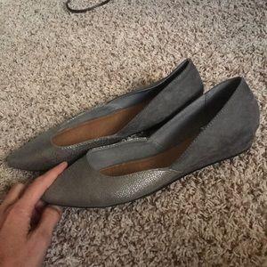 Gray/metallic flat with slight heel